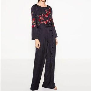 Zara Satin Blue Floral Embroidered Jumpsuit